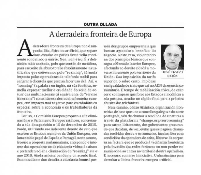 """""""A derradeira fronteira de Europa"""" por Xosé Castro Ratón"""